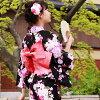 """Seven points of yukata nostalgic yukata set high quality fancy weaving yukata sets """"floral art yukata zone clogs lady's nostalgic stripe diagonal to a black ground with a stripe"""""""