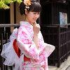 Yukata only on cream ground pink roses