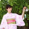 유카타 세트 레이디스 레트르 고급 바뀌어 방직면유카타 3점 세트 「핑크지에 파스텔색 백합 패랭이 꽃 작약」