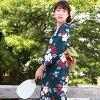 유카 타 세트 여성용 레트로 명품 바뀌어 방직 면 욕의 3 점 세트 「 검정 녹지에 紫陽花와 부드러운 꽃 」