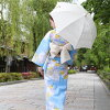 "It is ""garland and ball yukata light blue classic handle waist band 2019 a yukata set nostalgic Lady's high-quality fancy weaving cotton yukata three points set in the light blue ground"""