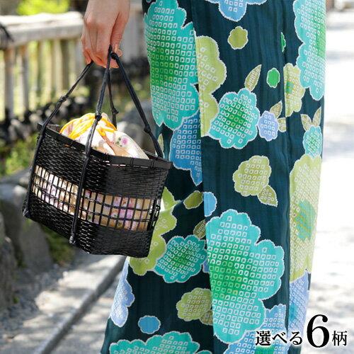 浴衣 かごバッグ【選べる6柄】ちりめん巾着竹かごバッグ 巾着 かご巾着 夏祭り 収納力