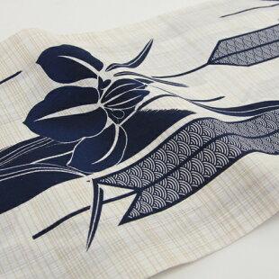 綿麻浴衣3点セット「生成り地にあやめと矢絣」