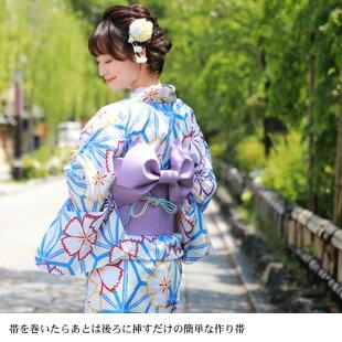 ときめき夏恋浴衣作り帯3点セット浴衣セット作り帯レトロ浴衣紺白緑クリーム