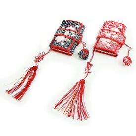 【期間限定クーポン】七五三 7歳用 女児 「絞り柄桜刺繍入りはこせこ」 箱迫 筥迫 びら簪付き《七五三 七歳用着物 》