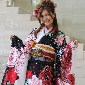 【期間限定15%OFFクーポン】【レンタル】振袖 レンタル 成人式 セット 20点フルセット「黒と白の染め分けピンク白バラと赤の蝶」成人式から結婚式やフォーマルまで 着物 kimono フリソデ ふりそで rental れんたる せいじんしき セイジンシキ バッグ bag