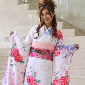 【最大3000円OFFクーポン】【レンタル】振袖 レンタル 成人式 セット 20点フルセット 「白 青 ピンク 牡丹 花」 成人式から結婚式やフォーマルまで 着物 kimono フリソデ ふりそで rental れんたる せいじんしき セイジンシキ バッグ bag