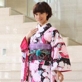 【レンタル】割引・振袖 レンタル 成人式 セット20点フルセット「黒 ブラック ピンク バラ 薔薇 ハート」成人式から結婚式やフォーマルまで 着物 kimono フリソデ ふりそで rental れんたる せいじんしき セイジンシキ バッグ bag
