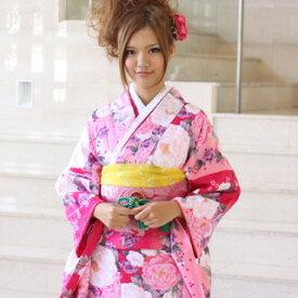 【レンタル】割引・振袖 レンタル 成人式 セット20点フルセット「ピンク ローズ 牡丹 桜」成人式から結婚式やフォーマルまで 着物 kimono フリソデ ふりそで rental れんたる せいじんしき セイジンシキ バッグ bag