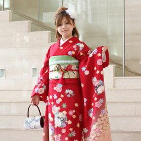 【レンタル】振袖 レンタル 成人式 セット20点フルセット「赤 レッド 牡丹 桜 鈴」成人式から結婚式やフォーマルまで 着物 kimono フリソデ ふりそで rental れんたる せいじんしき セイジンシキ バッグ bag