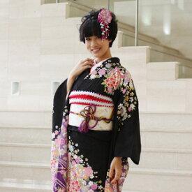 【レンタル】振袖 レンタル 成人式 セット20点フルセット「黒 ブラック 紫 パープル 桜 鞠」成人式から結婚式やフォーマルまで 着物 kimono フリソデ ふりそで rental れんたる せいじんしき セイジンシキ バッグ bag