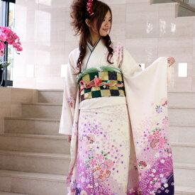 【最大3000円OFFクーポン】【レンタル】振袖 レンタル 成人式 セット20点フルセット「白 紫 桜 ホワイト パープル」成人式から結婚式やフォーマルまで 着物 kimono フリソデ ふりそで rental れんたる せいじんしき セイジンシキ バッグ bag