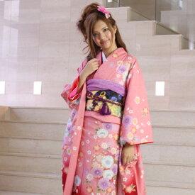 【レンタル】振袖 レンタル 成人式 セット正絹京友禅 20点フルセット「ピンク 赤 レッド 桜 金彩」 成人式から結婚式やフォーマルまで 着物 kimono フリソデ ふりそで rental れんたる せいじんしき セイジンシキ バッグ bag