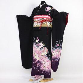 【レンタル】振袖 レンタル 成人式 セット20点フルセット「黒 ブラック 紫 パープル 桜 小槌」成人式から結婚式やフォーマルまで 着物 kimono フリソデ ふりそで rental れんたる せいじんしき セイジンシキ バッグ bag