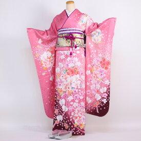 【レンタル】振袖 レンタル 成人式 セット20点フルセット「ピンク 蘭 菊 桜」成人式から結婚式やフォーマルまで 着物 kimono フリソデ ふりそで rental れんたる せいじんしき セイジンシキ バッグ bag