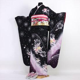 【最大3000円OFFクーポン】【レンタル】振袖 レンタル 成人式 セット20点フルセット「黒 ブラック 胡蝶蘭 桜 紫 パープル」成人式から結婚式やフォーマルまで 着物 kimono フリソデ ふりそで rental れんたる せいじんしき セイジンシキ バッグ bag