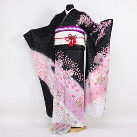 【レンタル】振袖 レンタル 成人式 セット20点フルセット「黒 ブラック ピンク 桜 鞠」成人式から結婚式やフォーマルまで 着物 kimono フリソデ ふりそで rental れんたる せいじんしき セイジンシキ バッグ bag