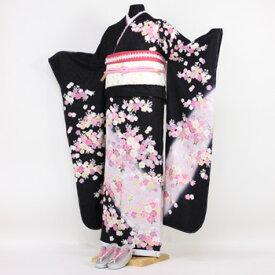 【レンタル】振袖 レンタル 成人式 セット正絹京友禅 20点フルセット 「黒 ブラック ピンク 桜吹雪」成人式から結婚式やフォーマルまで 着物 kimono フリソデ ふりそで rental れんたる せいじんしき セイジンシキ バッグ bag