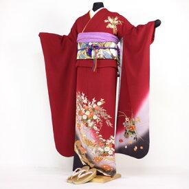 【レンタル】振袖 レンタル 成人式 セット正絹京友禅 20点フルセット「赤 レッド 紫 パープル 紅 菊 扇子」成人式から結婚式やフォーマルまで 着物 kimono フリソデ ふりそで rental れんたる せいじんしき セイジンシキ バッグ bag