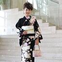【レンタル】訪問着 レンタル za2 訪問着+和装小物 フルセットレンタル 安い 黒 薔薇と桜卒業式 祝賀会 式典 結婚式 …
