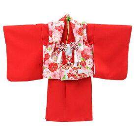 【レンタル】【1歳用着物レンタル】祝着 1歳 女の子 着物 二部式着物 被布セット「赤無地着物に水色被布(桜と鞠)」ひな祭り 衣装 往復送料無料 初節句