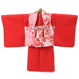 【レンタル】〔za2〕【1歳用着物レンタル】祝着 1歳 女の子 着物 二部式着物 被布セット「赤無地着物にピンク被布(桜と蝶)」ひな祭り 衣装 初節句