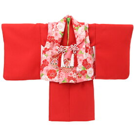 【レンタル】【1歳用着物レンタル】祝着 1歳 女の子 着物 二部式着物 被布セット「赤無地着物にピンク被布(桜と鞠)」ひな祭り 衣装 初節句