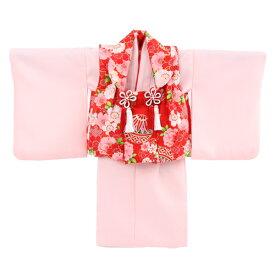 【レンタル】【1歳用着物レンタル】祝着 1歳 女の子 着物 二部式着物 被布セット「ピンク無地着物に赤被布(桜と鞠)」ひな祭り 衣装 往復送料無料 初節句