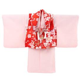 【レンタル】【1歳用着物レンタル】祝着 1歳 女の子 着物 二部式着物 被布セット「ピンク無地着物に赤被布(桜と蝶)」ひな祭り 衣装 往復送料無料 初節句