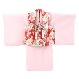 【レンタル】【1歳用着物レンタル】祝着 1歳 女の子 着物 二部式着物 被布セット「ピンク無地着物に水色被布(桜と鞠)」ひな祭り 衣装 初節句