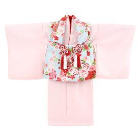 【レンタル】【1歳用着物レンタル】祝着 1歳 女の子 着物 二部式着物 被布セット「ピンク無地着物に水色被布(御所車と鼓)」ひな祭り 衣装 往復送料無料 初節句