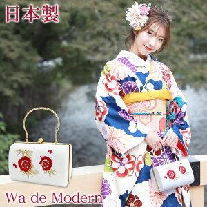 日本製 Wa de Modern 成人式 振袖用 正絹 和装バッグ「白地に鶴と松竹梅刺繍」和装バッグ 成人式 バッグ 振袖 着物 和装 和服 花柄 レトロ