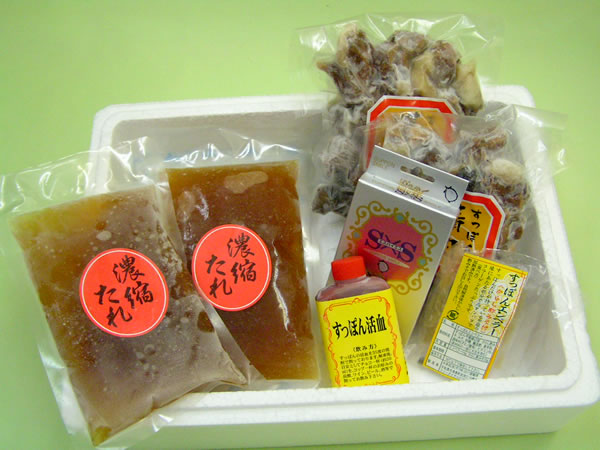 とっぽ鍋料理セット 4〜5人前 (ボイル精肉200g×2、濃縮たれ200ml×2、エンペラー、活き血、粉末カプセル) − 水幸苑