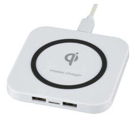オーム電機 AudioComm ワイヤレス充電器 USBポート2個付 MAV-W05-W