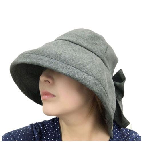 定形外郵便で送料無料 UVカット率99% デニム調 UV女優帽 帽子 ツバ広 折りたたみ レディース