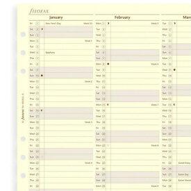【ネコポス送料無料】FILOFAX 2019年 A5サイズ バーチカルイヤープランナー(コットンクリーム) システム手帳リフィル 19-68508