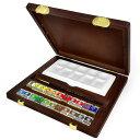 【限定品】ターレンス レンブラント ラグジュアリーボックス 固形水彩絵具22色 木箱セット(画筆・陶器パレット付き)