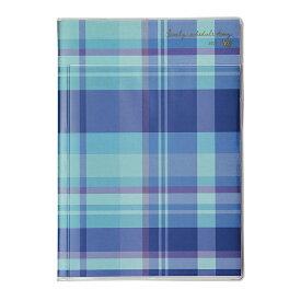 2021年 手帳 クツワ 家族手帳L A5薄型(月曜始まり) チェック・ブルー 013SHB スケジュール帳 ダイアリー かわいい