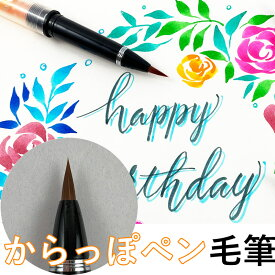 【先行販売】からっぽペン 毛筆 カートリッジ式 スポイト付き ECF160-602 呉竹 好きなインクが使えるカートリッジペン