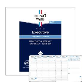 《1週間》クオバディス 2021年 手帳レフィル 12月始まり 週間バーチカル エグゼクティブ用リフィル 16x16cm カバーなし・差し替え用