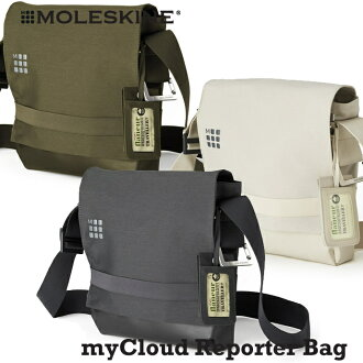 MOLESKINE Moleskine myCloud bag series reporter bag pains gray / Kirk Baju / leather reporter bag / shoulder bag / lesportsac (tilted over bag)
