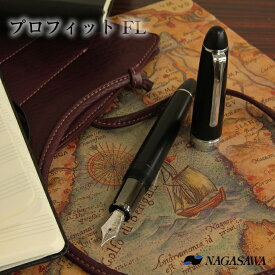 【名入れ対象商品】NAGASAWA オリジナル万年筆 プロフィット FL マットブラック 銀パーツ 長時間筆記向き
