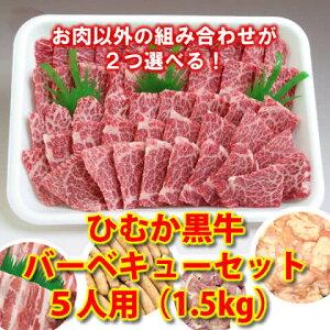 ひむか黒牛バーベキューワイワイセット5人用(1.5kg)【送料無料】(肉、セット、大人数、パーティー、豚肉、鶏肉、ホルモン、焼肉)