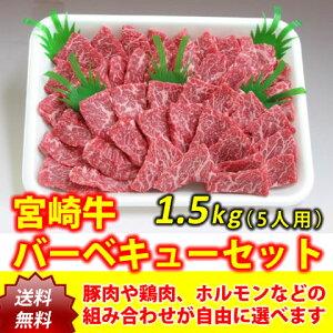 宮崎牛バーベキューワイワイセット5人用(1.5kg)【送料無料】 (肉、セット、大人数、パーティー、豚肉、鶏肉、ホルモン、焼肉)