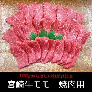 宮崎牛モモ焼肉 100g (牛肉、バーベキュー、BBQ、霜降り、A4、A5等級)