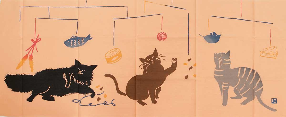 【ゆうパケット・クリックポストOK】にじゆら 注染絵手拭い 「猫とモビール」ピンク 【RCP】