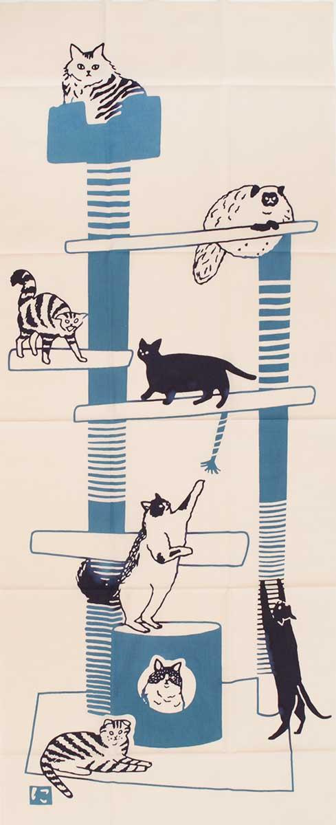 にじゆら 注染絵手拭い 「cat tower」ピンク 【メール便OK】