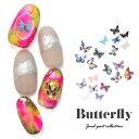 超薄 リアル蝶々ホログラム 40枚 蝶々 ネイルアート デコ | ホログラム ジェルネイル ネイル パーツ 花 ジェル ネイル…