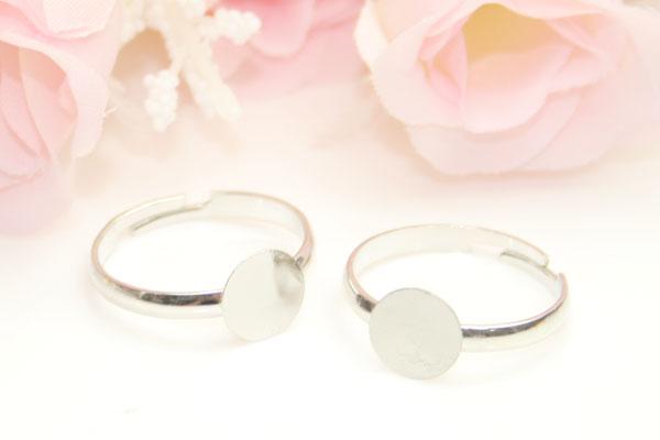 【メール便OK】ハンドメイド素材♪指輪リングパーツ1個【シルバー】