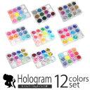 メール便送料無料 ジェルネイル&スカルプに ラメグリッター&ホログラム『12色ケース付が680円』 選べる12種類のセッ…